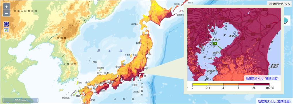 30年間に震度6弱以上の揺れに見舞われる確率