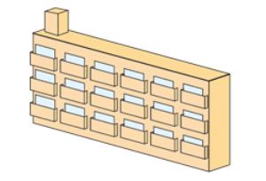 細長い形状のマンション