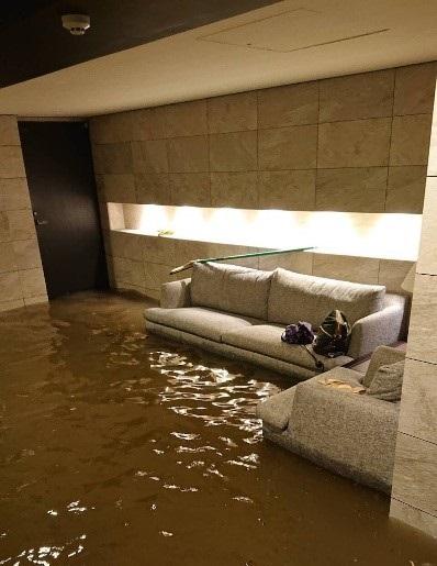 エントランスが浸水