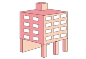 ピロティ形式のマンション