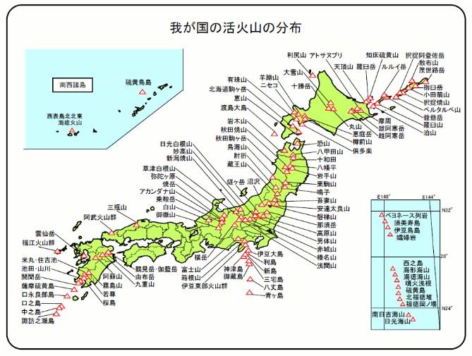活火山の分布