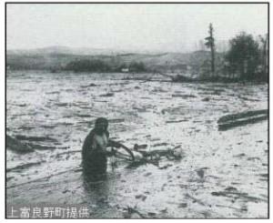 写真:1926年の十勝岳噴火による融雪型火山泥