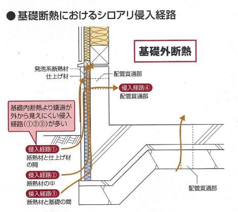基礎断熱におけるシロアリ侵入経路