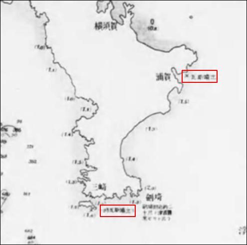 大震後相模灘水深変化調査図